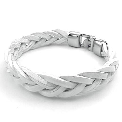 Adisaer Herren Armband Edelstahl Webart Lederkette Armreifen Weiß Silber Für Männer Lange 22CM Gothic Armbänder