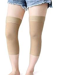 LKAIBIN 1 par tamaño L color piel cálido elástico rodilla apoyo compresión mangas protector abrigo apoyo apoyo silicona almohadillas banda