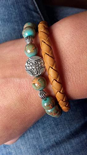 Handmade Armband Set Boho/Ethno, Türkis- Gold/Orange meliert- Senf Gelb -