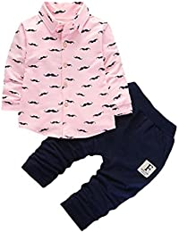 1cc9bf2e6 Logobeing 2Pcs Bebé Niños Carta de Ropa Set Una Hilera de Camisas  Abotonadas + Pantalones Trajes