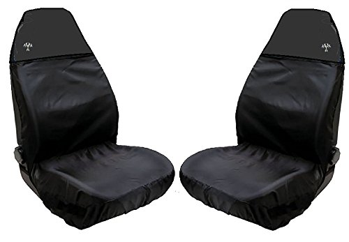 XtremeAuto coprisedili per auto, universali, sedili anteriori, impermeabili, colore nero, con schienale alto, con logo bandiera a scacchi, WLW2-B38-3