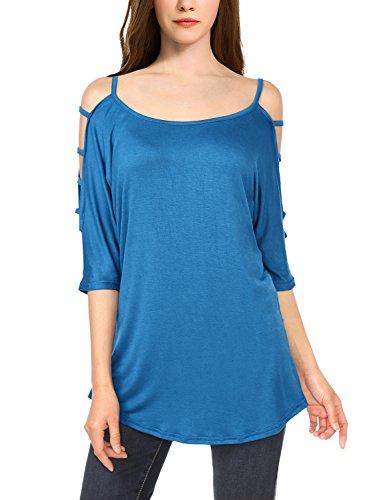 WAJAT Femme T-shirt longue Manhces ajoures Tunique Bleu M