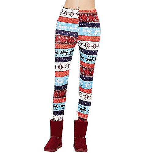 Simshew Los Pantalones Copo de Nieve Polainas de Navidad Pantalones de Mono para Mujer Tallas Grandes de Gran Altura Leggings recortados con Cordones Pantalones Pitillo Calabaza de Halloween La Moda