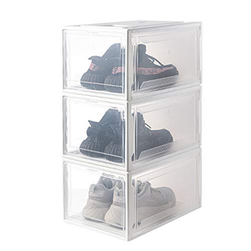 Schuhkarton,Aufbewahrungsbox Schuhkarton für Damen/Herren Faltbarer,Stapelbarer Schuhkarton aus Kunststoff mit Durchsichtigem Wandschrank und Schuhorganisator,Maximal 46 Meter Schuhe (Durchsichtig) (Air Box Jordan Schuhe)