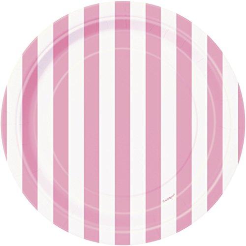 Unique Party 37994 - Assiettes en Carton au Motif Rayé Rose Pastel de 18 cm, Paquet de 8