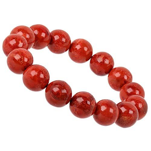 Perlen Armband mit Schaumkoralle Koralle rot 12mm Energieband für Damen (19) ()