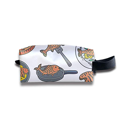 Free Fish Fry Icons Women Cosmetic Bag Travel Girls Oxford Toiletry Bags Lovely Portable Hanging Organizer Makeup Pouch Pencil Case