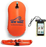 New Wave Swim Bubble - Open Water Triathon Schwimmboje für Freiwasser Schwimmer und Triathleten - Orange Bundle