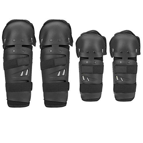 4erwachsene Motorrad Ellenbogen Knie Pads, Motocross Radfahren Ellenbogen Knie Pads Displayschutzfolie Schienbeinschutz Rüstungen Set schwarz