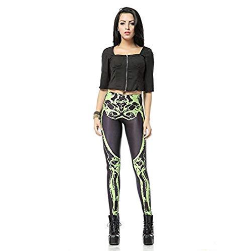 täglich T Legins Leggings Unikat Style Bein Knochen Leggins Skelett Gedruckt Frauen Frauen Pant (Color : XL, Size : XL) ()