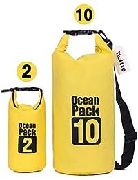 Kottle (2 Pack) 10L / 2L ligero impermeables bolsas secas con lona resistente al agua 500D resistente correa de hombro ajustable, además de la caja del teléfono resistente al agua libre, amarillo