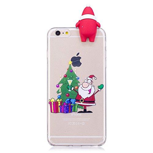 Cover iPhone 6 Case iPhone 6S Custodia Spiritsun Soft TPU Christmas Case Cover 3D DIY Case Elegante Flexible Natale Regalo Phone Cover Case Per iPhone 6 / 6S (4.7 Pollici) - Babbo Natale e albero di N Babbo Natale e albero di Natale