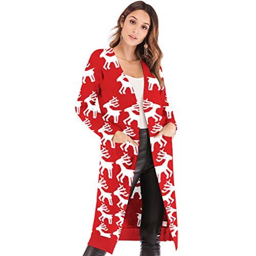 Zilee Donna Maglione Natalizio Maglieria Cardigan Lungo - Invernale Manica Lunga Maglioni Cappotto Novità Giacca Sweater con il Modello di Xmas Casuale Autunno Cappotto Sottile