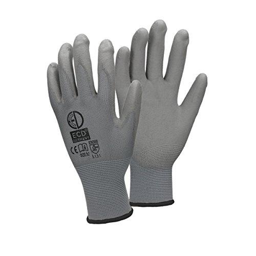 ECD Germany 12 Paar PU-Arbeitshandschuhe, Größe 10-XL, Farbe Grau, Mechanikerhandschuhe Montagehandschuhe Nylon Garten, Builders, Mechaniker Handschuhe
