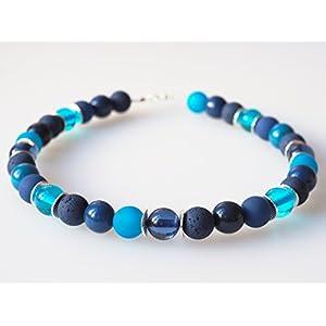 Polariskette blau türkis schwarz Lava Tagua Collier Kette Blautöne