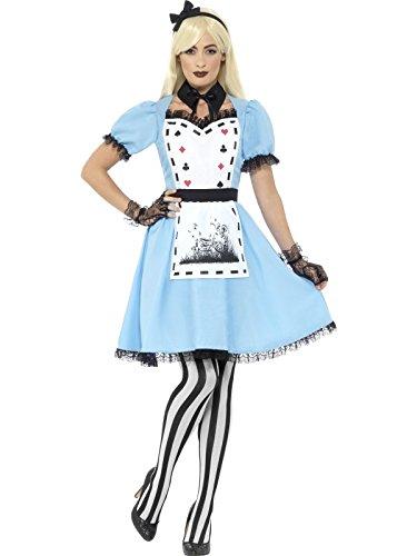 Smiffys, Damen Deluxe Dunkle Teeparty Kostüm, Kleid mit Schürze, Kragen, Strumpfhose und Haarband, Größe: 32-34, 44712 (Adult Deluxe Alice Kostüme)