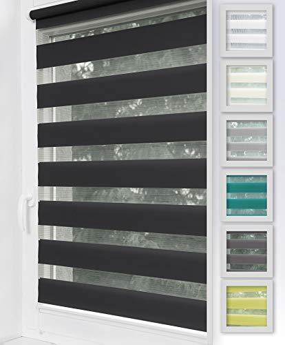 Home-Vision Duo Rollo Klemmfix, Doppelrollo ohne Bohren mit Klämmträgern, Rollos für Fenster und Türen (Schwarz, B105cm x H150cm)