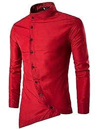 Herren Hemd Slim Fit Langarm Bügelleicht Modernes Langarmhemd Businesshemd Freizeithemd Unregelmäßig für Anzug Business langarshirt Bluse Tops T-Shirt