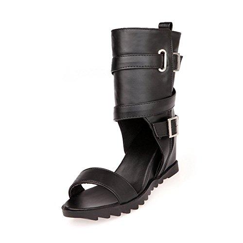 Adee Mädchen berührt Innen Offene PU Sandalen, Schwarz - schwarz - Größe: 35.5 (Mädchen Sandles Gladiator)