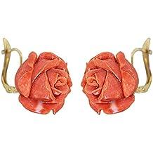 616d220e9a50 hobra de oro de oído häger Oro 750 con rosas de coral pendientes de coral  rosas