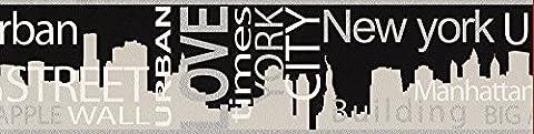 A.S. Création Bordüre Boys & Girls Papier New York City 5,00 m x 0,13 m grau metallic schwarz Made in Germany atmungsaktiv feuchtigkeitsregulierend umweltfreundlich 935671 93567-1