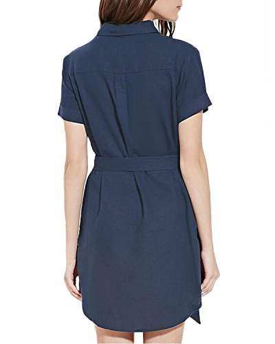 Auxo Femme Sexy Single-breasted Long Blouses Col Revers Chemise Robe à Manches Courtes Mini Robe Blau