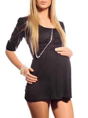 Purpless Maternity Damen U-Ausschnitt Umstands Top Tunika 5006 (36 (UK 8), Black)