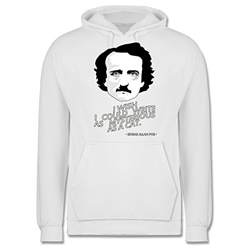 Statement Shirts - Edgar Allan Poe - I wish I could write as mysterious as a cat - Männer Premium Kapuzenpullover / Hoodie Weiß