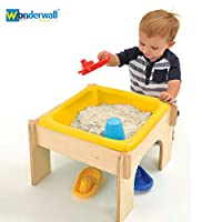 Wonderwall EYFS Wooden Sandpit, Sand and Water Play Table Station - Birch Wood - Simply Slot Together and Play - 2 in 1Play Table for Toddlers, Nursery, Kids, School, Home
