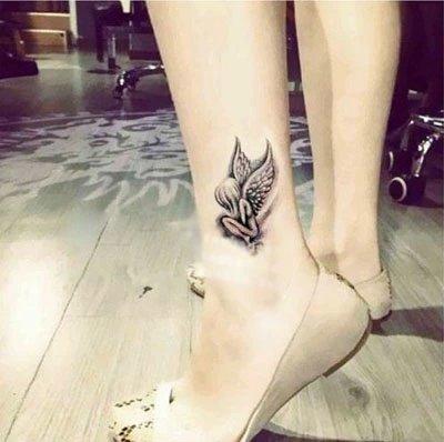 Marke Mode Wasserdicht Temporäre Tätowierung Aufkleber Tatoo Tatto Frauen Flash Gefälschte Henna Schwarz Engel Tattoos Lost Angle Fly 10,5X6Cm8Ps - Engel Tattoos Frauen