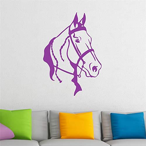 stickers muraux citations famille Tête de cheval avec harnais et tresses Animal pour chambre d'enfants chambre d'enfant