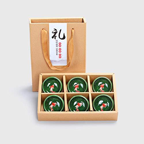 MumuXiDy 6Pcs / Set Crackle Glaze Fish Cup Portable Gift Box Ceramic Tea Cup Kung Fu Tea Set Enterprise Wedding Festival Gift - Crackle Glaze