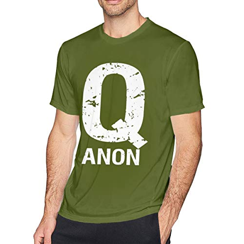 Men's Cotton Short-Sleeved T-Shirt QAnon Freedom Movement Q Anon White Rabbit Moss Green XL -