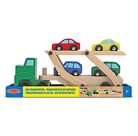 Melissa & Doug Car Transporter and Cars Wooden Toy Set