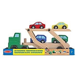 Melissa & Doug Car Transporter and Cars Wooden Toy Set With 1 Truck and 4 Cars