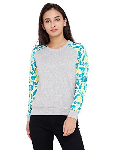 Chumbak Ikat Printed Sleeves Grey Raglan Sweatshirt