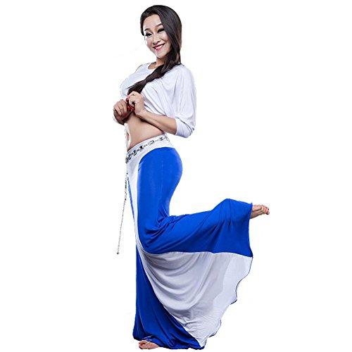 Frauen Bauch Dance Üben Kleidung Leistung Kostüm Modern Kurz Ärmel Shirt Rock Blue M