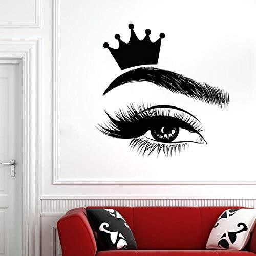 JXMN Wimpern Wandapplikation Wimpern Fenster Aufkleber Vinyl Aufkleber Beauty Salon Frau Wimpern Augenbrauen Kunst Innendekoration Crown Wandbild 57x57cm -