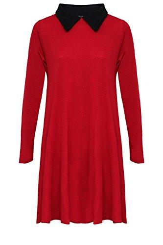 Damen Swing-Kleid Bubikragen Lange Ärmel Skater ausgestellt Rot - Rot