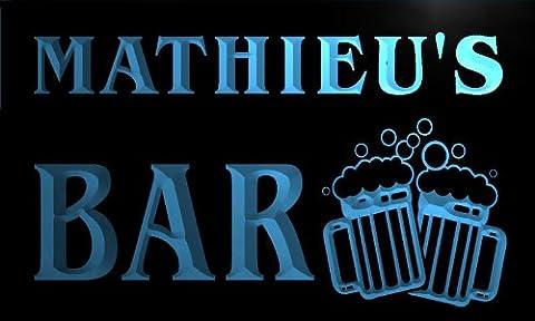 w006484-b MATHIEU'S Nom Accueil Bar Pub Beer Mugs Cheers Neon Sign Biere Enseigne Lumineuse