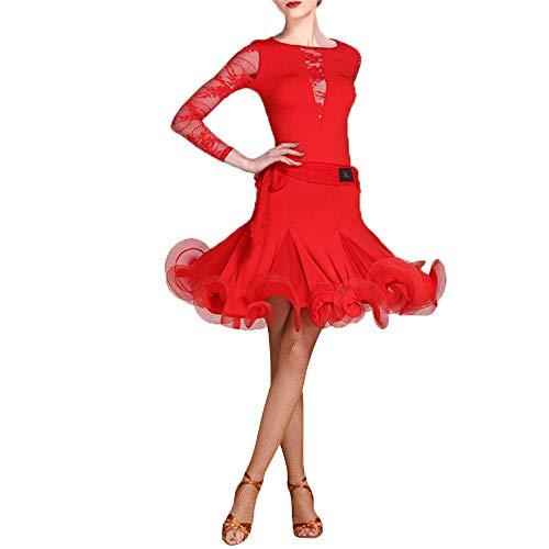 Latin Dance Dress Damen Party Tanzkleidung Frauen Langarm Rundhals Spitze Ballsaal Latin Dance Kleid Anzug Leistung Wettbewerb Professionelle Praxis Dancewear Party Dance Rock Kostüm Set Ballsaal Sash