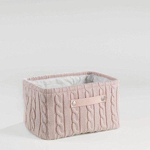 Aufbewahrungskorb Korb Strick 38x26x20 Grau, Rosa oder Weiss, Farbe:Rosa