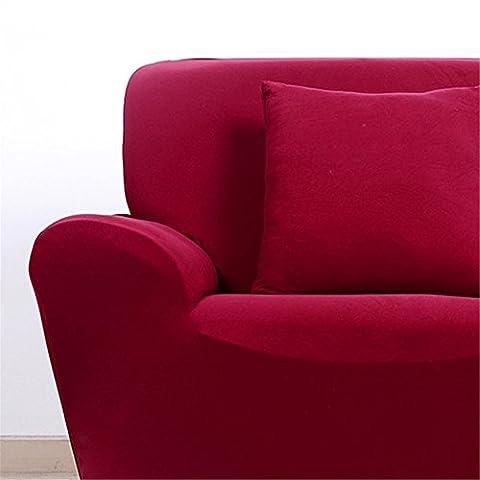 LianLe Sofabezüge Sofahussen Elastisch für Haus Büro Hotel Restaurant (3 Sitzer 190-230cm, Wein Rot)