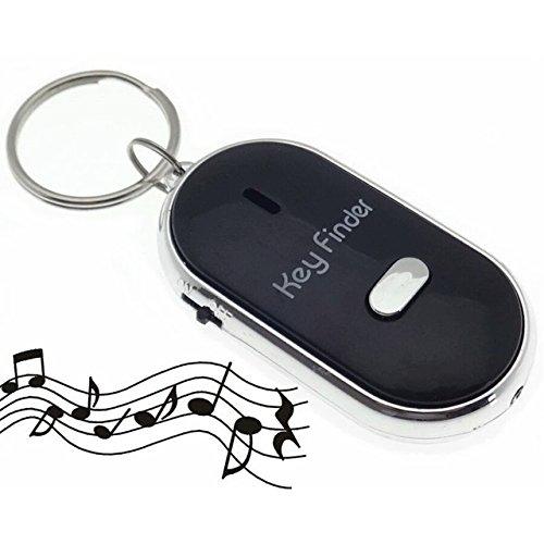 Hochwertiger Schlüsselfinder mit LED -- Reagiert auf Ihr Pfeifen mit einem akustischen Signalton, mit Schlüsselring *Schwarz*