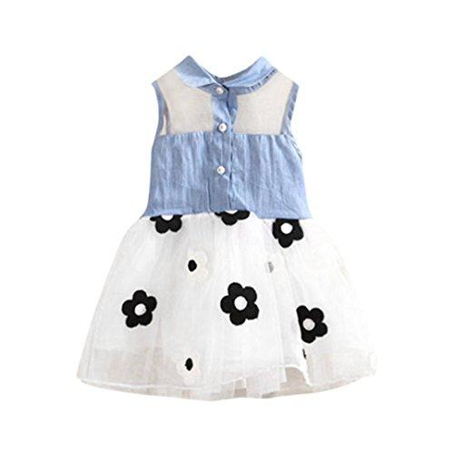 er Mädchen Kleinkinder Baby Mädchen Ärmellos Blumen Denim-Mini-Kleid mit Rock (Kleinkinder Blauen Mantel Tragen Kostüme)