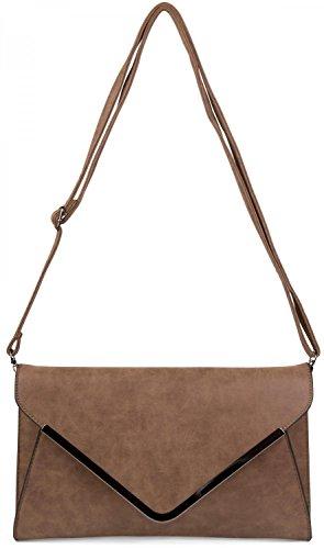 styleBREAKER borsa clutch a busta, borsetta da sera con design a quadri con bretelle e tracolla, donna 02012047, colore:Rosa Marrone scuro