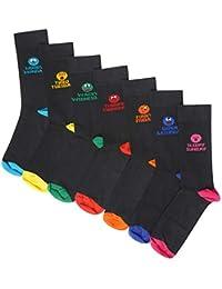 686be80b904 Mens Boys 7 Pack Novelty Days of the Week Socks Emoji Mood Fun Socks