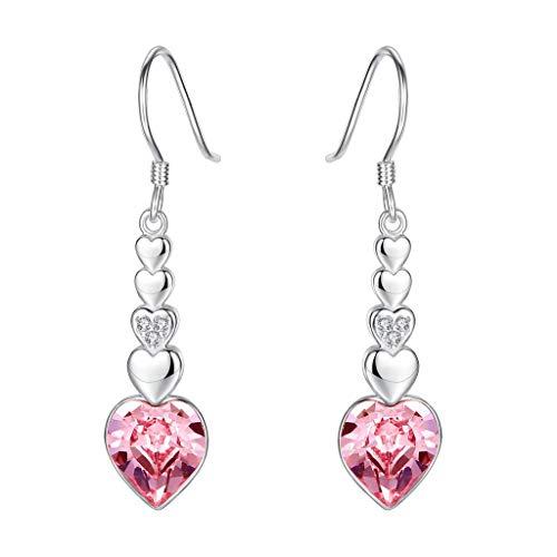 Clearine orecchini donna-argento figura 8 amore cuore gancio ciondolare orecchini adornato con swarovski cristallo rosa tourmaline colore