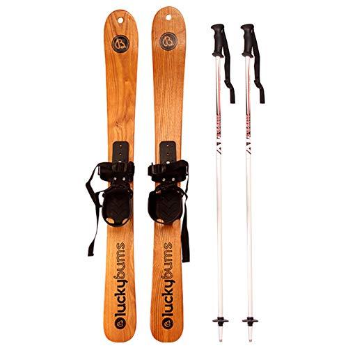CAJUXI Massivholz-Ski,Stylische Ski-Doppelschlittenasche,110Cm Snowboard Doppelboard Und Skistock Set
