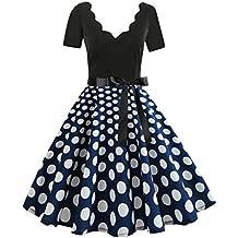 Ginli Vestito Donna Elegante Donna Senza Maniche Stampa Moda Vestiti  Vintage Flare Abito Vestito Donna Manica b12f1ccba39